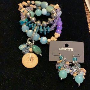 Chico's three strand stretch bracelets & earrings